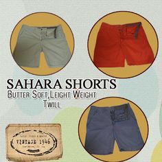 Get hold of Vintage 1946 Sahara shorts in an array of spring colors.