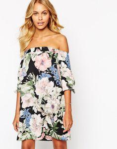 Love | Love Off Shoulder Bold Floral Shift Dress at ASOS