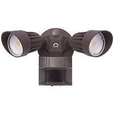 Save up to on energy costs with this double head LED security light. wide at maximum arm settings x 6 high. Integrated 10 watt LEDs in each lamp: 1440 lumens total, comparable to a 120 watt incandescent bulb. Style # at Lamps Plus.