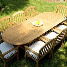Royal Teak Collection Avant Person Teak Dining Set W Inch - Oval teak outdoor dining table