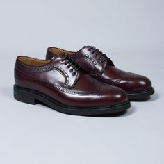 Berwick  Men's Bordeaux Lace-Up Brogues: This pairof bordeaux lace up brogues from Berwick are luxury personified. Berwick use premium leather from the German tannery of Jon Rendenbach Jr, where the cuts are tanned for an entire year in oak leaves. The design is finally coloured and patterned by hand, giving every pair a unique finish.