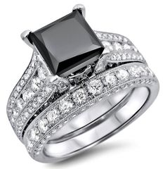 4.35ct Black Princess Cut Diamond Engagement Ring Wedding Band Set 18k White Gold / Front Jewelers