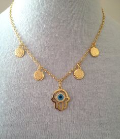 Gold Coin Hamsa Necklace Muslim jewellery Jewelry, £13.99