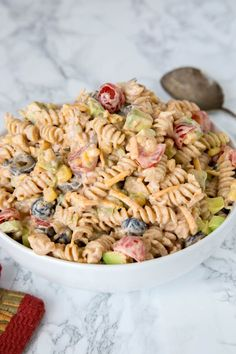 Taco Pasta Salad can be made the day before, or in the morning and have it waiting for you for dinner. The flavors come together if you let is sit for a couple hours.