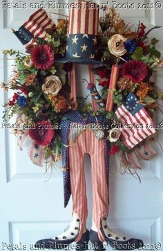 Patriotic July 4th  Wreath Primitive Uncle Sam by PetalsnPlumes