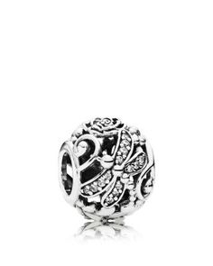 PANDORA Charm - Sterling Silver & Cubic Zirconia Dragonfly Meadow, Moments Collection | Bloomingdale's