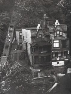 Vintage houses on a hillside, Pittsburgh, PA