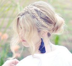 love Maegan:: Messy Rope Braids and Low Bun Hair Tutorial Fashion + DIY + Lifestyle Romantic Hairstyles, Pretty Hairstyles, Braided Hairstyles, Wedding Hairstyles, Hairstyle Ideas, Braided Updo, Bridesmaid Hairstyles, Stylish Hairstyles, Bridal Hairstyle