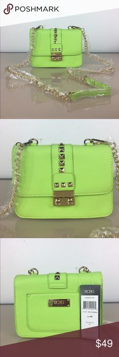 """BCBG Studded Caviar Cross Body BCBG Studded Caviar Mini Crossbody in black Faux leather. Gold tone stud accents and button lock closure. Apple green                              detachable strap 7"""" W x 5.5"""" H snap closure 47"""" strap, fully extended 2 interior pockets, 1 back pocket BCBG Bags Crossbody Bags"""