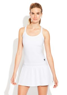 Collezione White Pleated Dress Tankdress; Scoop neck; Shelf bra; Racerback-style with keyhole detail; Double-banded waist detail on pleated drop skirt; FILA logo patch; Features SPF 30 protection; Not lined #Dress #Bra #Racerback