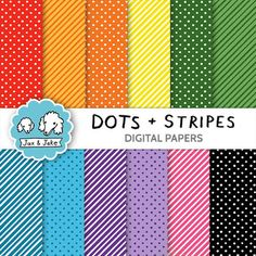 """This colorful Dots and Stripes set is great to use as backgrounds in lesson plans as well as printed out for crafts, scrapbooking and classroom decor.  This set includes:  • Our Dots and Stripes designs in 14 color combinations each including black and white versions. 28 files total.  • High quality 300 dpi files in .jpg format.  • Sized at 12"""" x 12"""" page but can be resized.  • Commercial use okay!"""