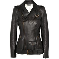 Alexander McQueen Leather biker jacket ❤ liked on Polyvore