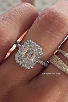 Eye-Catching Emerald Cut Engagement Rings ❤ Love this so much. It would have to be a bit smaller to fit my finger correctly but it's stunning! Emerald Cut Engagement, Popular Engagement Rings, Beautiful Engagement Rings, Halo Engagement Rings, Vintage Engagement Rings, Beautiful Wedding Rings, Wedding Rings Vintage, Diamond Wedding Rings, Bridal Rings