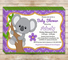 80% off Custom KOALA Baby Shower Invitation by Funparty2015