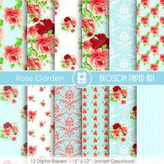 Papeles floreados rosa verde papeles para imprimir flores - Papeles decorativos para imprimir ...