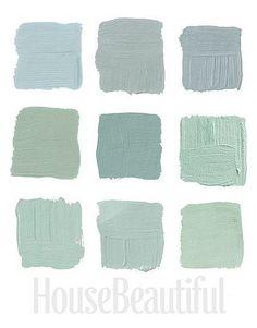 House Beautiful Designer Grays 3: Top Row, 1-Pratt & Lambert's Argent 1322, 2-Farrow & Ball's Light Blue 22, 3- Farrow & Ball's Green Blue 84 Middle Row, 1- Benjamin Moore's Cedar Grove 444, 2-Ralph Lauren Paint's Blue-Green GH81, 3-Benjamin Moore's Colony Green Bottom Row, 1-Benjamin Moore's Heavenly Blue, 2-Benjamin Moore's Palladian Blue HC-144, 3-Benjamin Moore's Sage Tint