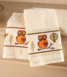 Cute Owl Hand Towel Set Of 2 Cute Bathroom Decor Colorful Animal Bathroom Decor Unbranded
