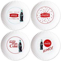 Coca Cola Coke® 1960s Melamine Plates - love these  sc 1 st  Pinterest & Classic Coca Cola 12-Piece Dinnerware Set | Cola-holic | Pinterest ...