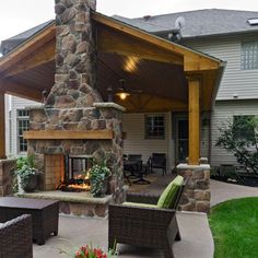Patio two sided fireplace Design Ideas, Pictures, Remodel and Decor