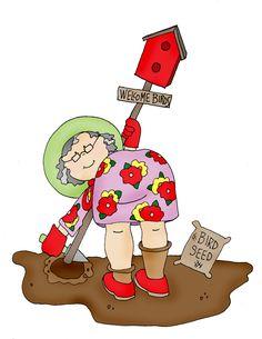 Free Dearie Dolls Digi Stamps: Grandma's Garden Grandmas Garden, Digi Stamps, Journal Cards, Doodle Art, Garden Art, Coloring Pages, Halloween Face, Doodles, Clip Art