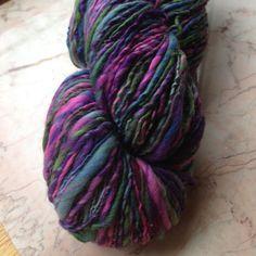 Bright Handspun Single Ply Merino Wool Yarn in Paradise Purple