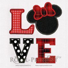 Love Minnie Mouse Appliqué machine embroidery design