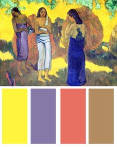 Color Palette Inspired By: Three Tahitian Women against a Yellow Background, 1899, Art Print by Paul Gauguin