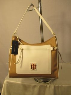 New Handbag Tommy Hilfiger Purse Beige White Hobo 6932527 260 #TommyHilfiger #Hobo