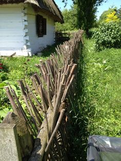 stick fence--spikes that'll keep those chickens in!