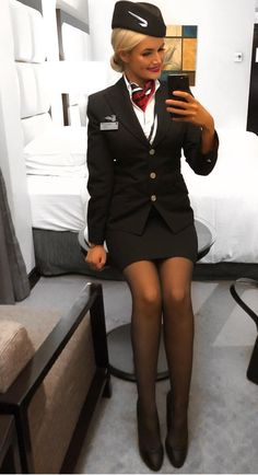 Tight Skirts Page: Uniform Tight Skirts 5 Flight Attendant Hot, Airline Attendant, British Airways Cabin Crew, Mode Pin Up, Tight Pencil Skirt, Tight Skirts, Airline Uniforms, Nice Legs, Socks