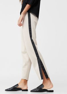 Contrast trim trousers -  Woman | MANGO USA