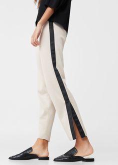 Contrast trim trousers - Woman | MANGO USA