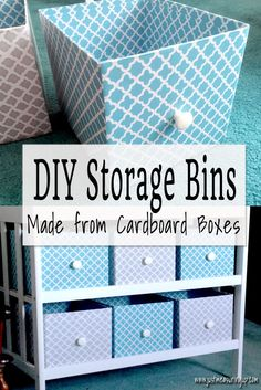Reuse cardboard boxes for storage! With just cardboard and contact paper and one other materila, you can make these DIY storage boxes out of cardboard. No sewing or fabric involved. Perfect for clothes or toys. Cardboard Box Diy, Cardboard Storage, Diy Storage Boxes, Craft Room Storage, Paper Storage, Craft Organization, Cube Storage, Small Storage, Craft Rooms