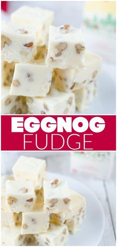 Eggnog Fudge – rich and creamy eggnog fudge with pecans. The perfect sweet treat for your holiday cookie tins!