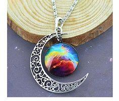 CargoMix®CargoMix® Einzigartige Entwurfs-Crescent Moon Galaxy Universe Glascabochon Anhänger Halskette Große Geschenke ...