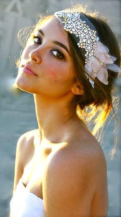 Brides messy bun bridal hair ideas Toni Kami Wedding Hairstyles 20s retro Gatsby headband http://curllsy.com/