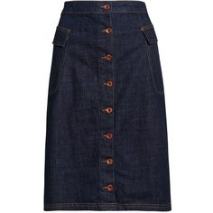 Superdry Button Down Midi Skirt featuring polyvore women's fashion clothing skirts blue women real leather skirt calf length skirts leather skirt blue midi skirt button down skirt