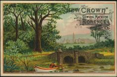 Crown Sewing Machine trade card, Florence Machine Co, Florence, Mass Deco, Vintage Sewing, Florence, Baby Items, Crown, Couture, Cards, Painting, Ebay