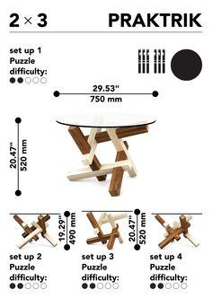 2x3 головоломка круглый журнальный столик плоский пакет мебели от PRAKTRIK