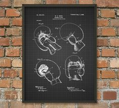 Boxing Glove Patent Wall Art Poster by QuantumPrints on Etsy