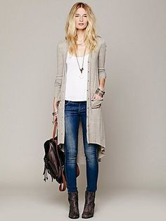 With black leather leggings and pointy oxfords...Ribbed Up Maxi Cardigan