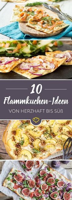 Von herzhaft bis süß: 10 knusprige Flammkuchen-Lieblinge Flammkuchen for a change to the lunch menu *** Monday with salmon, Tuesday with goat cheese and Wednesday in a classic way … with these 10 ideas for crispy tarte flambée you will never be bored. Pizza Recipes, Snack Recipes, Cooking Recipes, Healthy Recipes, Snacks, Lunch Menu, Vegan Pizza, Soul Food, Food Inspiration