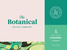 Bold and beautiful branding for a coffee company - I love the serif and sans-serif font combo and the pastel pink paired with mint green
