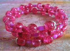 Hot Pink Crackle Glass and Gemstone Beaded by celebratebracelets