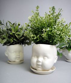 Porcelain Baby doll head planter /or candy dish by reshapestudio, $55.00