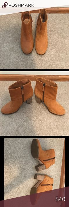 Cole Haan Booties -Buck skin-color! These booties have a lot of life left in them! A few minor scuffs, as seen in photos, but overall still in great shape! Accepts reasonable offers! Cole Haan Shoes Ankle Boots & Booties