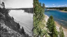 Image copyright                  AP                  Image caption                     The Fishing Bridge in 1871 and 2012   After 140 years, the boulders, canyons, trees and geysers of Yellowstone National Park do not appear to be dramatically worse for wear, according to newly released images. Photographer William Henry Jackson photographed the Wyoming-based park in 1871, the year before Congress made Yellowstone the first national park in the world. More