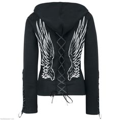 Poizen Industries Angel Wings Gothic Emo Punk Ladies Girls Lace Hood #poizenIndustries #Hoodies