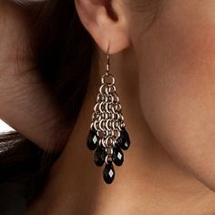 Sassy black chain earrings.