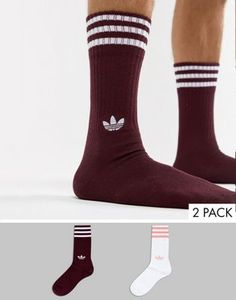 3a2d182a647c adidas Originals 2 Pack Crew Socks In Red DH3361